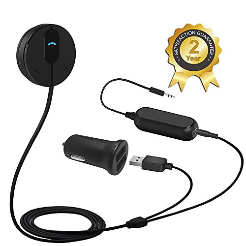 Besign-BK01-Bluetooth-41-Car-Kit-Hands-Free-Wireless-Talking-Music-Streaming-Receiver-with-Dual-Port-USB-Car-Charger-and-Ground-Loop-Noise-Isolator-for-Car-with-35mm-AUX-input-Port-0