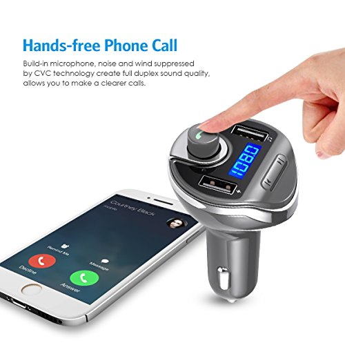 Music Player for All Smartphones Criacr Bluetooth FM Transmitter for Car Dual USB Car Charger Wireless Radio Transmitter Car Adapter with Hand-Free Calling