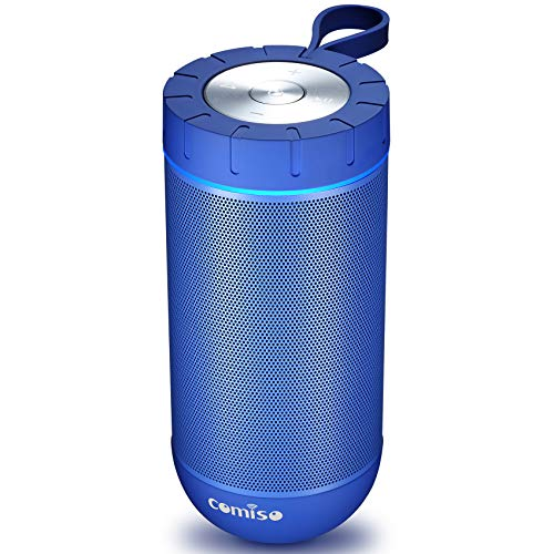 COMISO-Waterproof-Bluetooth-Speakers-Outdoor-Wireless-Portable-Speaker-with-24-Hours-Playtime-Superior-Sound-for-Camping-Beach-Sports-Pool-Party-Shower-Blue-0